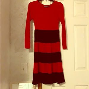 Black and red sweater dress